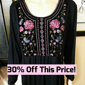 Hannah, Embroidered Black Tunic